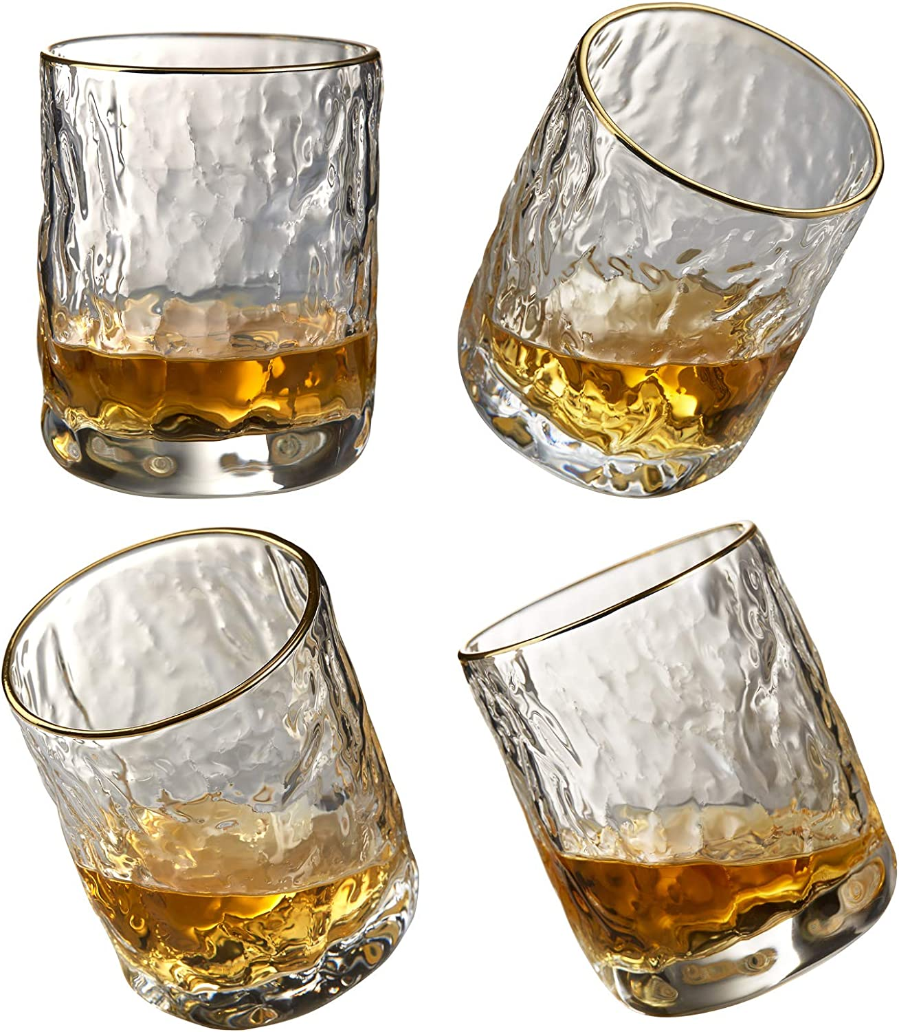 Interoceanic Whiskey Glasses, 10 oz Rocks Lowball Bar Glasses For Scotch, Bourbon, Cocktails - Old Fashioned Cocktail Tumblers & stemless wine glass set of 4