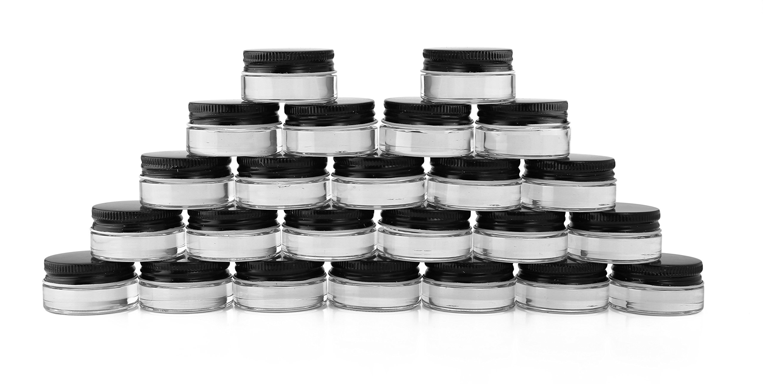 7-Milliliter Glass Lip Balm Jars (24-Pack).25-Ounce Thick-Walled Containers (Clear with Black Metal Lids) by Cornucopia Brands
