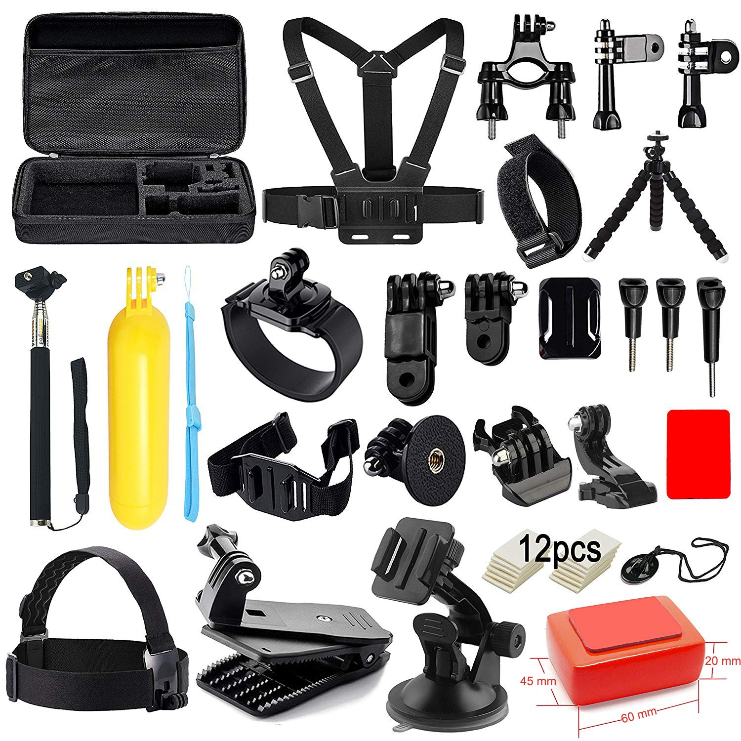 Soft Digits Accessories Kit for GoPro Hero 6 5 4 3+ Session Accessory Bundle Set for Action Camera SJ4000 SJ5000 SJ6000 Xiaomi Yi-Flotation Handle+Head Strap+Chest Strap by Soft digits