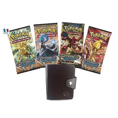 Carte Pokemon - Lot de 4 booster pokemon XY OFFENSIVE VAPEUR avec 1 cadeau bonus offert