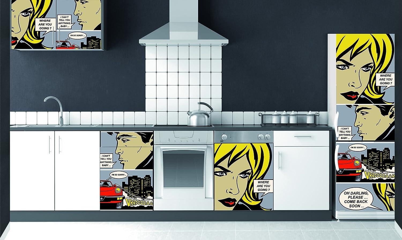 PLAGE 162252–Adesivo per cucine e frigorifero Comic–Vinile 180x 0.1x 59,5cm, Multicolore PLAGE SA