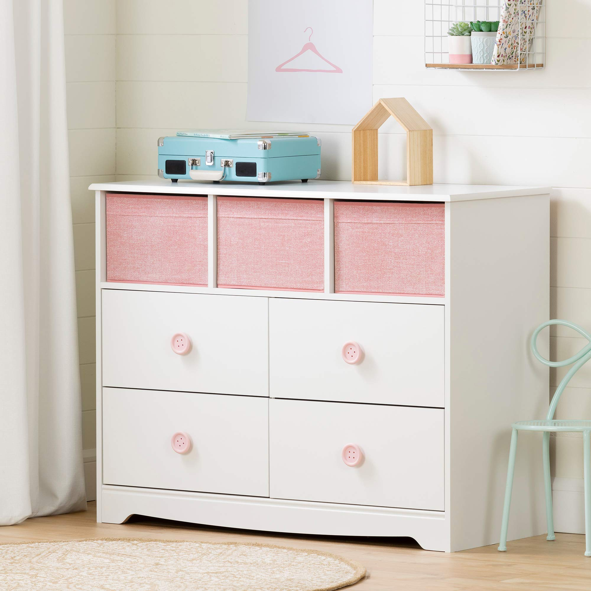 South Shore Sweet Piggy 4-Drawer Dresser with Baskets, White and Pink by South Shore