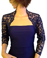 Lowlita Designs Navy leaf design lace Bolero , shrug for special occasions, with 3/4 sleeves sizes 8 to 18