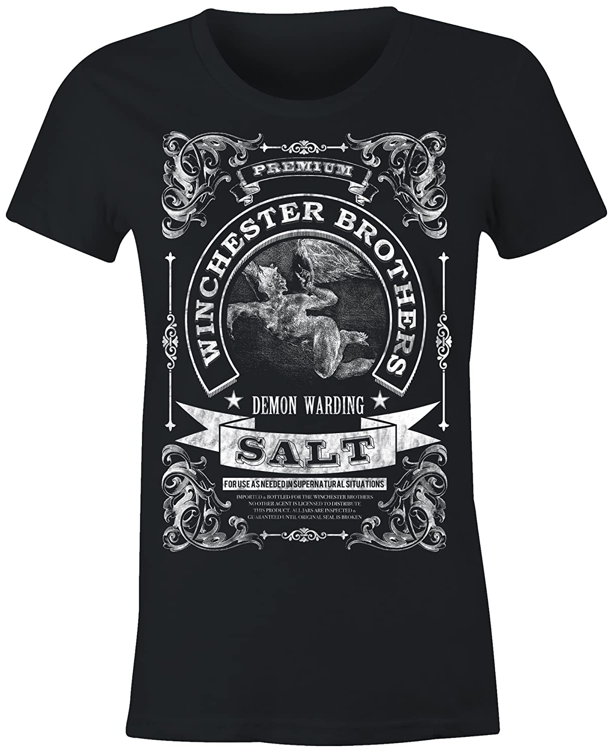 6TN Ladies Winchester Brothers Demon Warding Salt T Shirt