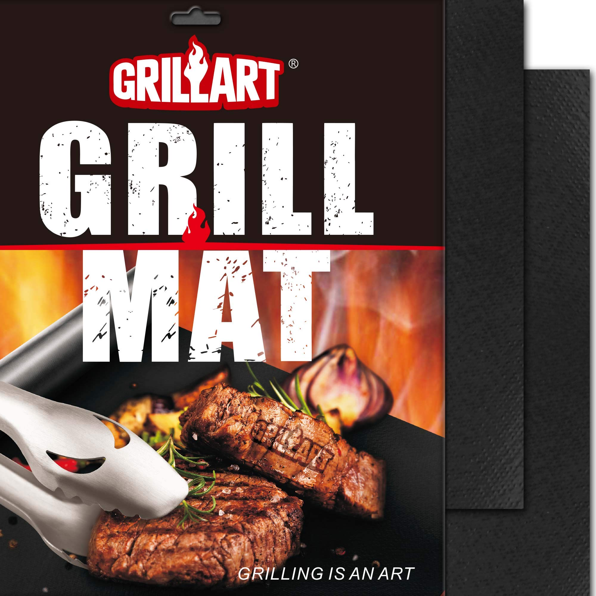 GRILLART BBQ Grill Mat - 100% Non-Stick 600 Degree Heavy Duty Mats (Set of 2) - Reusable, Easy to Clean Barbecue Grilling Accessories - Works on Electric Grill Gas Charcoal BBQ by GRILLART
