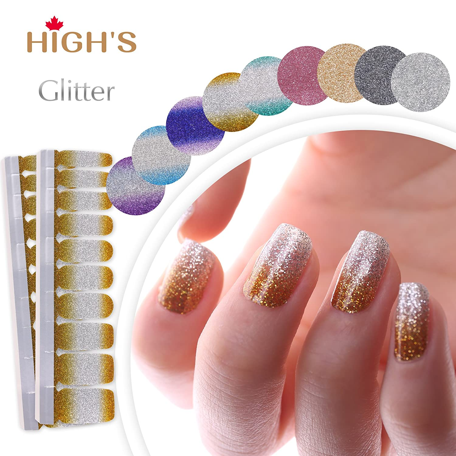 HIGH'S EXTRE ADHESION 20pcs Nail Art Transfer Decals Sticker Glitter Series The Cocktail Collection Manicure DIY Nail Polish Strips Wraps for Wedding, Party, Shopping, Travelling (Golden Age) HIGH' S