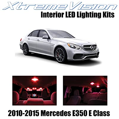Xtremevision Interior LED for Mercedes E350 E550 E63 AMG E Class Sedan 2010-2015 (7 Pieces) Red Interior LED Kit + Installation Tool Tool: Automotive