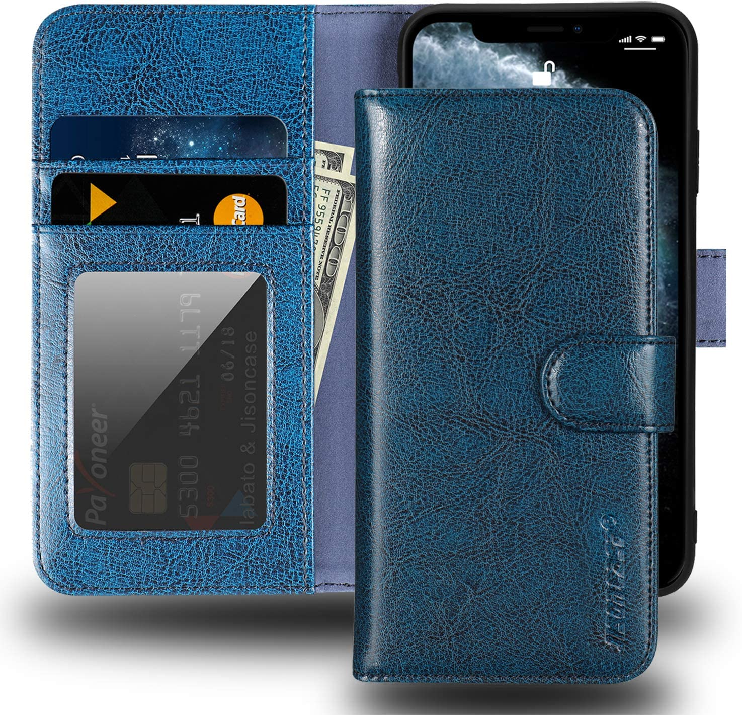 "JISONCASE iPhone X Wallet Case,Genuine Leather iPhone Xs Case with Card Holder & RFID Blocking & Wireless Charging,Shockproof Protective Cover Flip Case for Apple iPhone X 10 XS 5.8""- Blue"