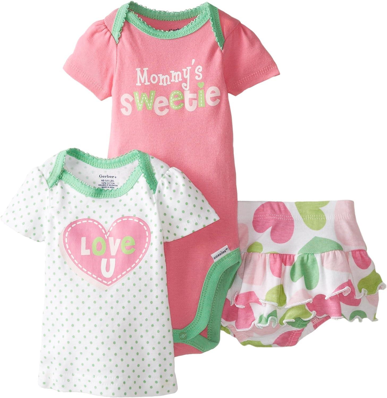 Gerber Baby Girls 3 Piece Bodysuit Shirt and Panty Set