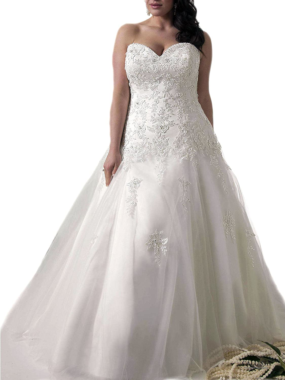 WeddingDazzle Applique Wedding Bridal Long Plus Size Wedding Dresses for Bride
