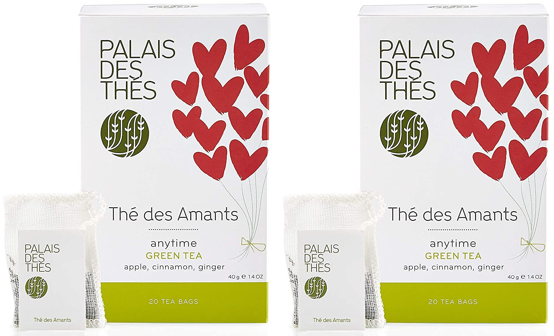 Palais des Thés Thé des Amants Spicy Green Tea with Apple, Cinnamon & Ginger, 40 Tea Bags (2 Pack)
