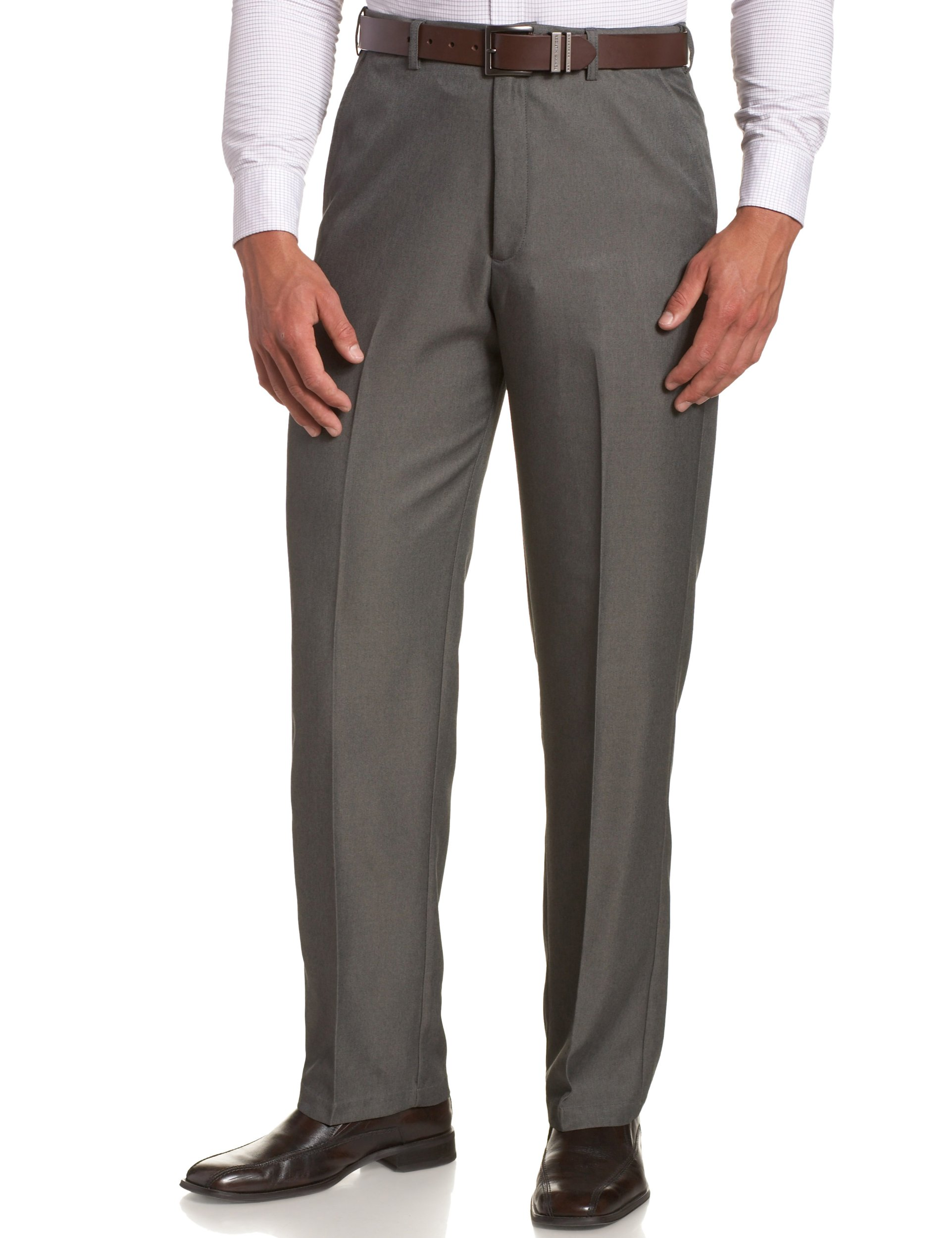 Haggar Men's Big-Tall Cool Gabardine Heather Plain Front Pant, Graphite, 46x30 by Haggar