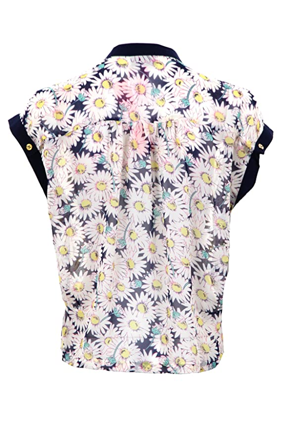 Fantasia Boutique Damas Manga Japonesa Chifón Estampado Floral Abotonado Cuello En V Blusa Mujer Top - sintético, Azul Marino, 100% poliéster 5% elastano ...