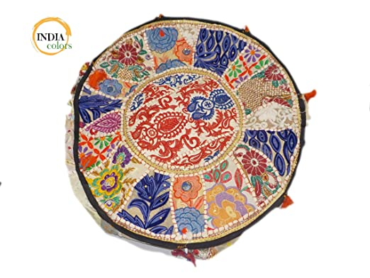 India colors. Puff hindú (Redondo Patch) cojín Funda Bordado Artesanal Hecho a Mano en India. (Tono 2)