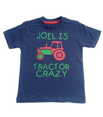 b5928c84 PERSONALISED TRACTOR CRAZY T-SHIRT WITH NAME' Washed Navy T-shirt ...