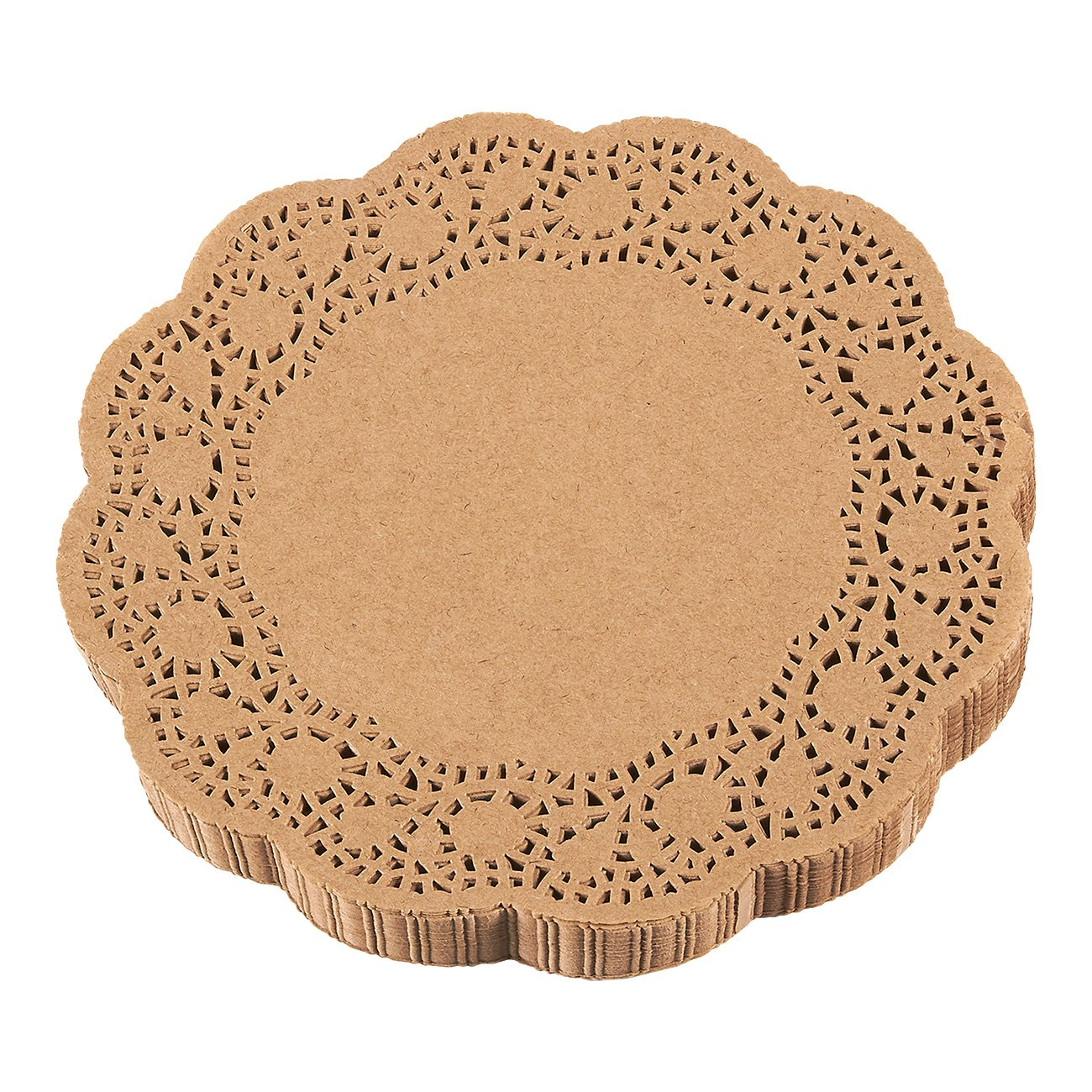 Paper Doilies – 250-Pack Round Lace Placemats for Cakes, Desserts, Baked Treat Display, Ideal for Weddings, Formal Event Decoration, Tableware Decor, Brown - 10 Inches in Diameter