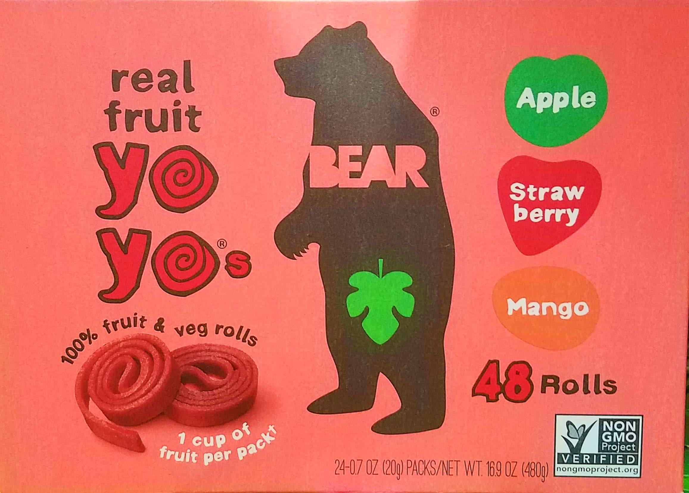 Bear Yoyos Real Fruit Rolls Snacks Leather Variety Pack: Apple, Strawberry, Mango, 24-0.7 oz Count by Bear Yoyos