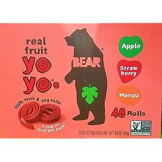 Bear Yoyos Real Fruit Rolls Snacks Leather Variety Pack: Apple, Strawberry, Mango, 24-0.7 oz Count