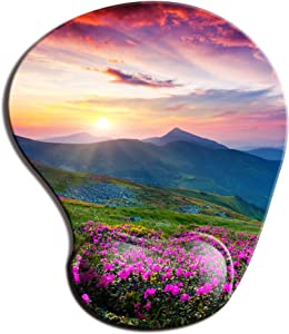 Memory Foam Mousepad with Wrist Support Nature Purple Flowers Meadow Mountain Scenic Ergonomic Mouse Pad