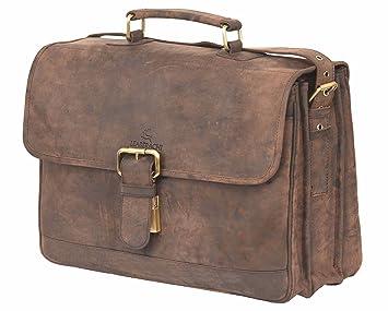 064a4cdac9 LEADERACHI Hunter Leather Muskat Crossbody Messenger Siena Laptop Briefcase  Bag