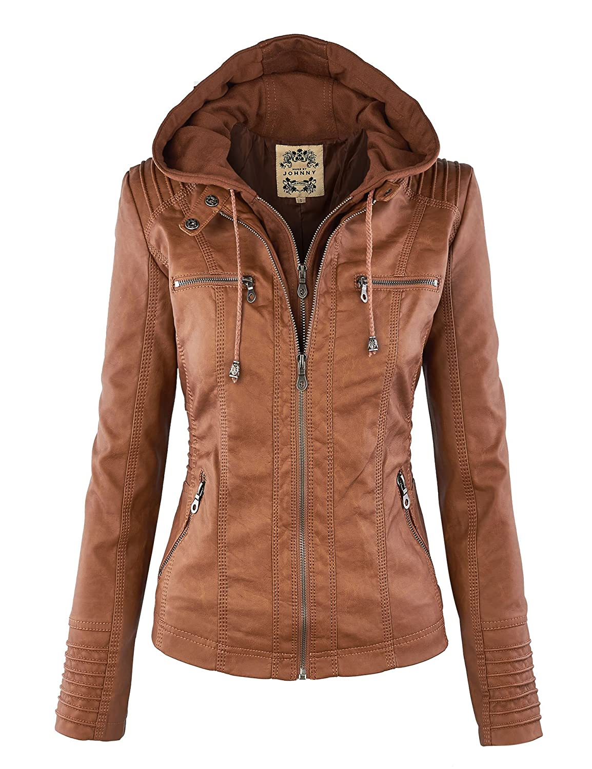 MBJ Womens Removable Hoodie Motorcyle Jacket: Amazon.ca: Clothing ...
