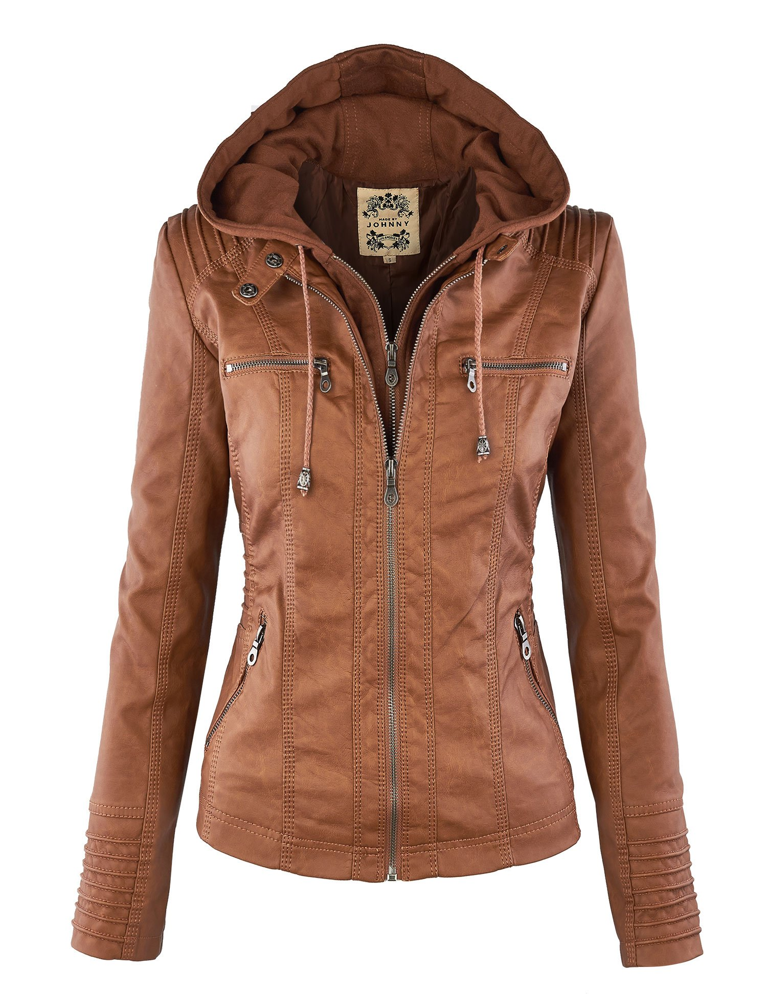 WJC663 Womens Removable Hoodie Motorcyle Jacket XL Camel