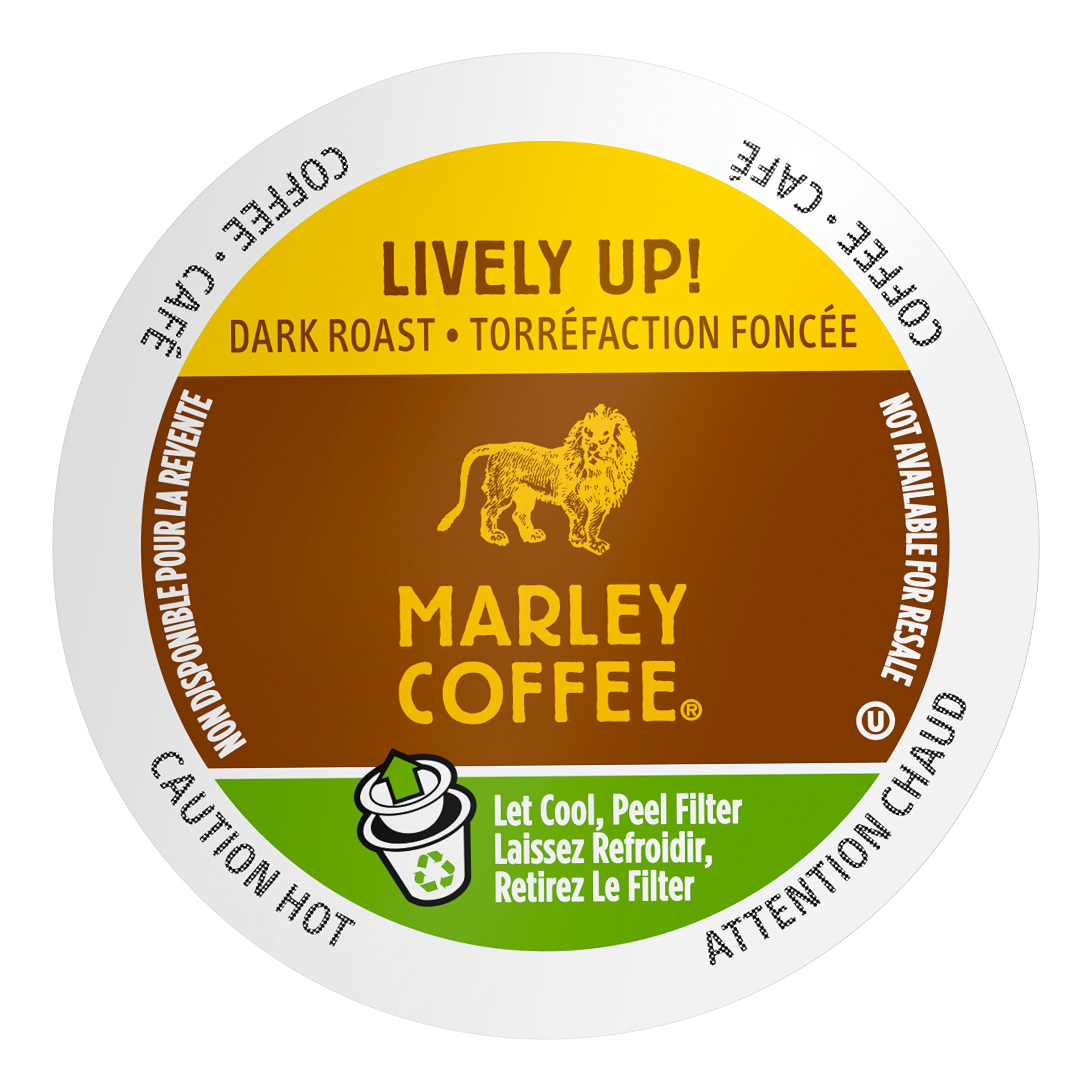 Marley Coffee Single Serve K-cup Capsules, Lively Up, Medium-Dark Roast