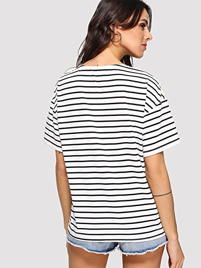 173955f3c526e Romwe Women's Short Sleeve Cut and Sew Colorblock Mix Patch Striped Print  Loose Fit Tee Shirt Top at Amazon Women's Clothing store: