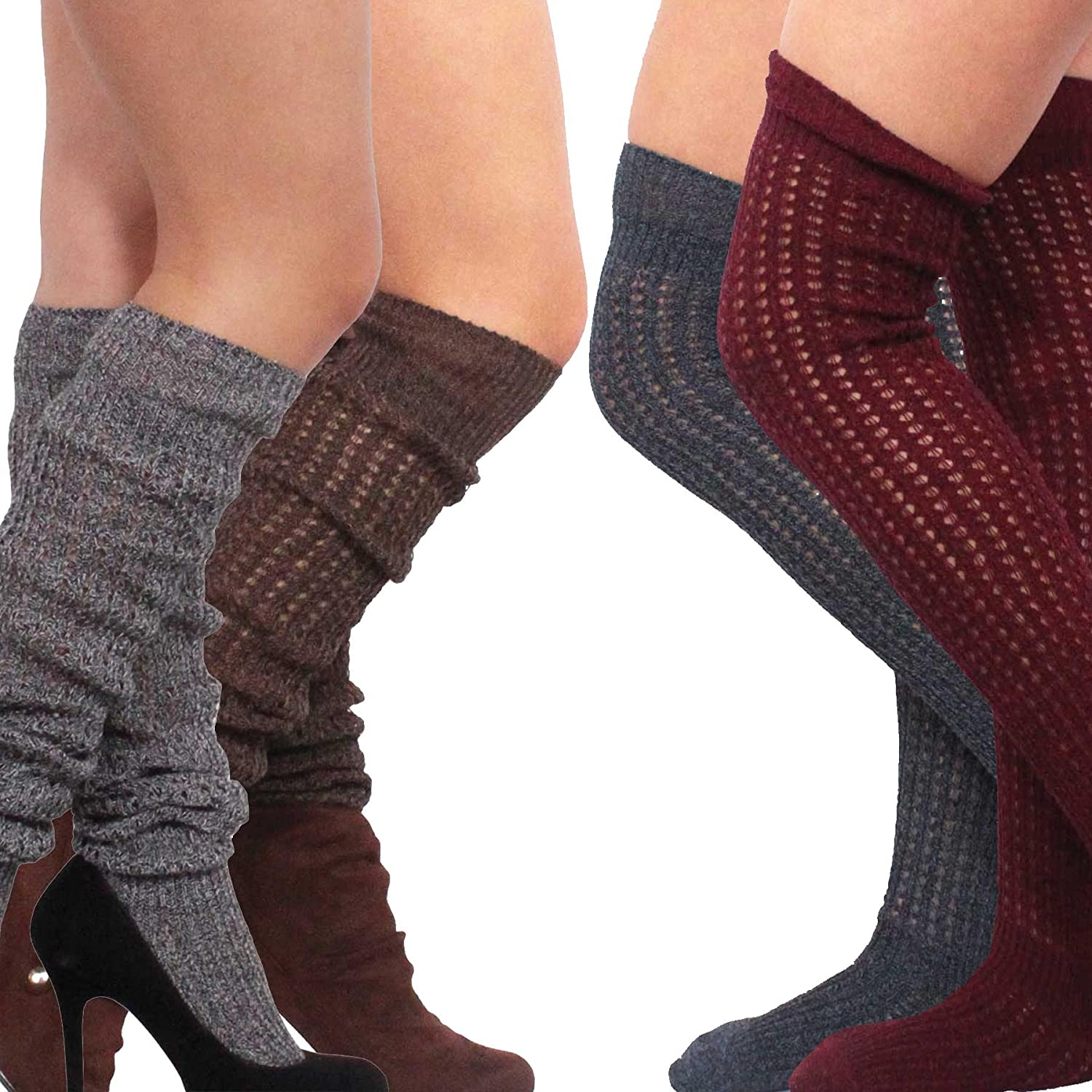 Teehee Womens Fashion Cotton Over The Knee Multi Pair Pack