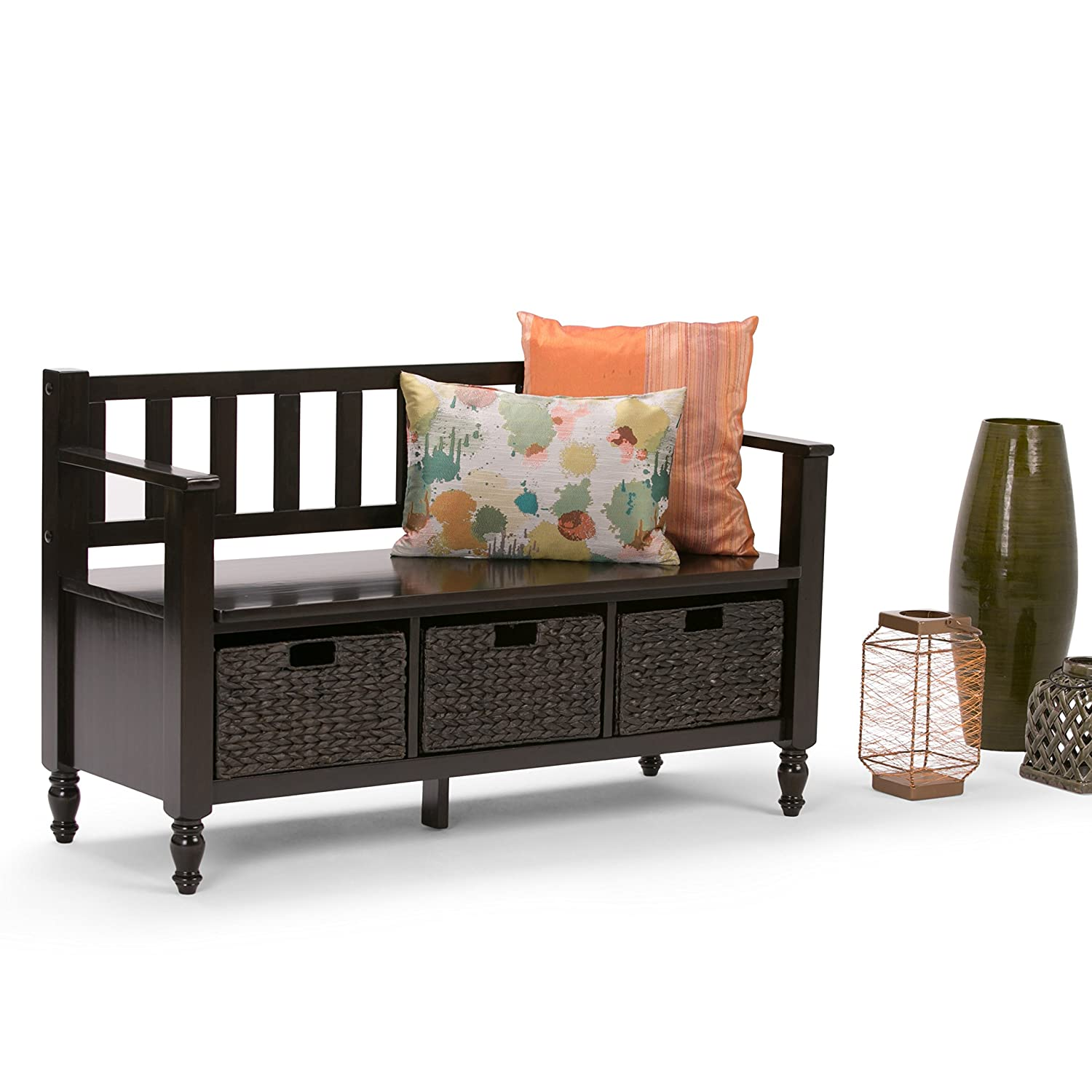 amazoncom simpli home dakota entryway storage bench w 3 hyacinth baskets dark brown kitchen u0026 dining