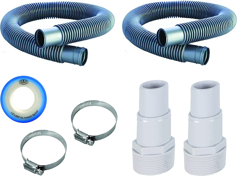 "FibroPool 1 1/2"" Swimming Pool Filter Hose Replacement Kit (3 Foot + 6 Foot)"