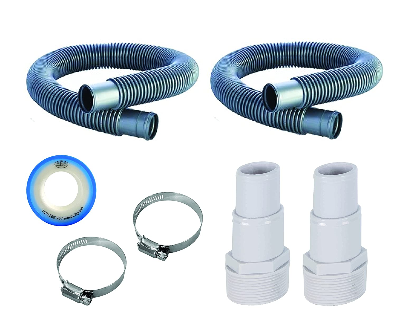 "Fibropool 1 1/4"" Swimming Pool Filter Hose Replacement Kit (6 Feet, 2 Pack)"