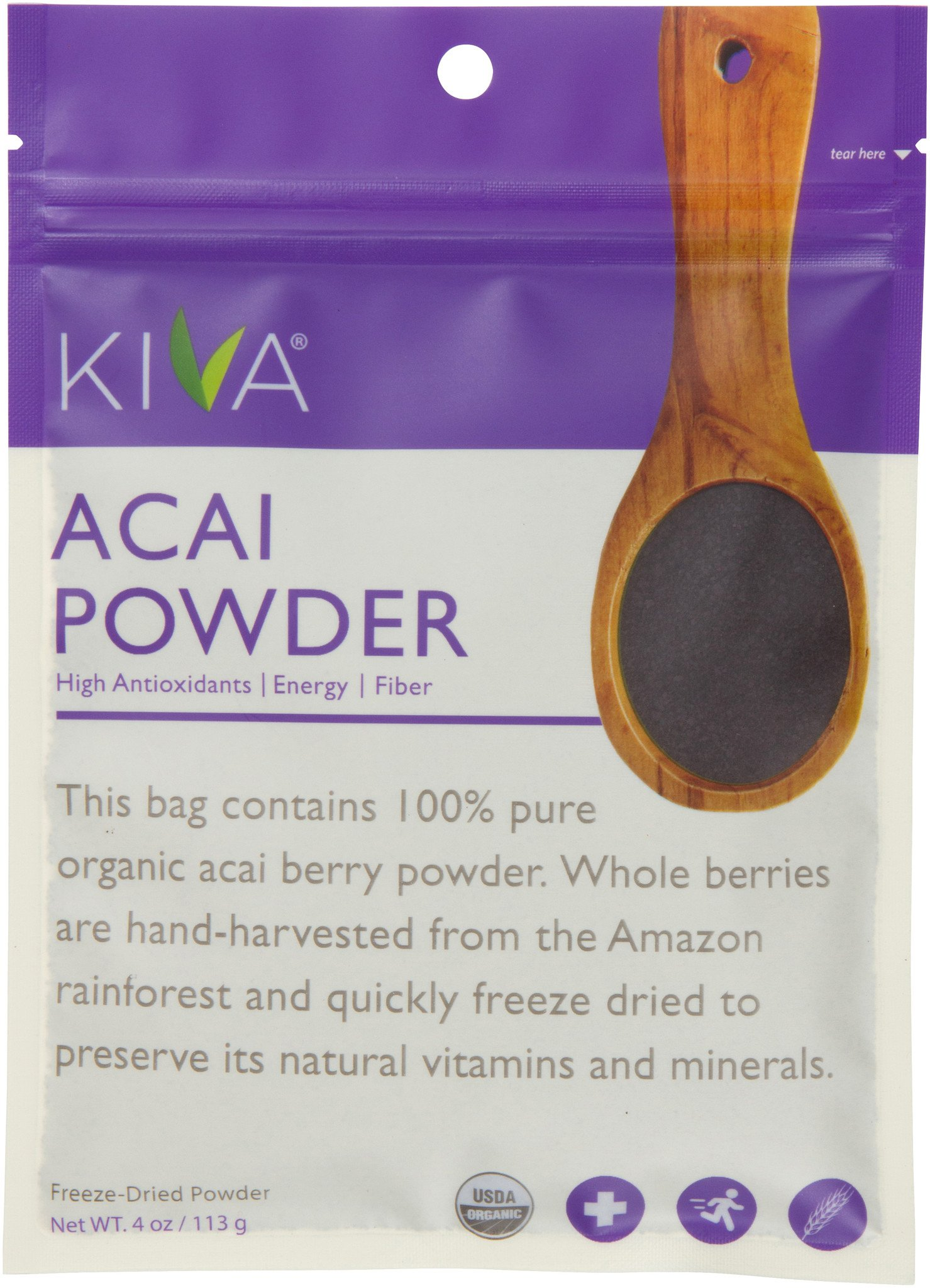 Kiva Organic Acai Berry Powder - Non-GMO, RAW, Vegan (4.0-Ounce)