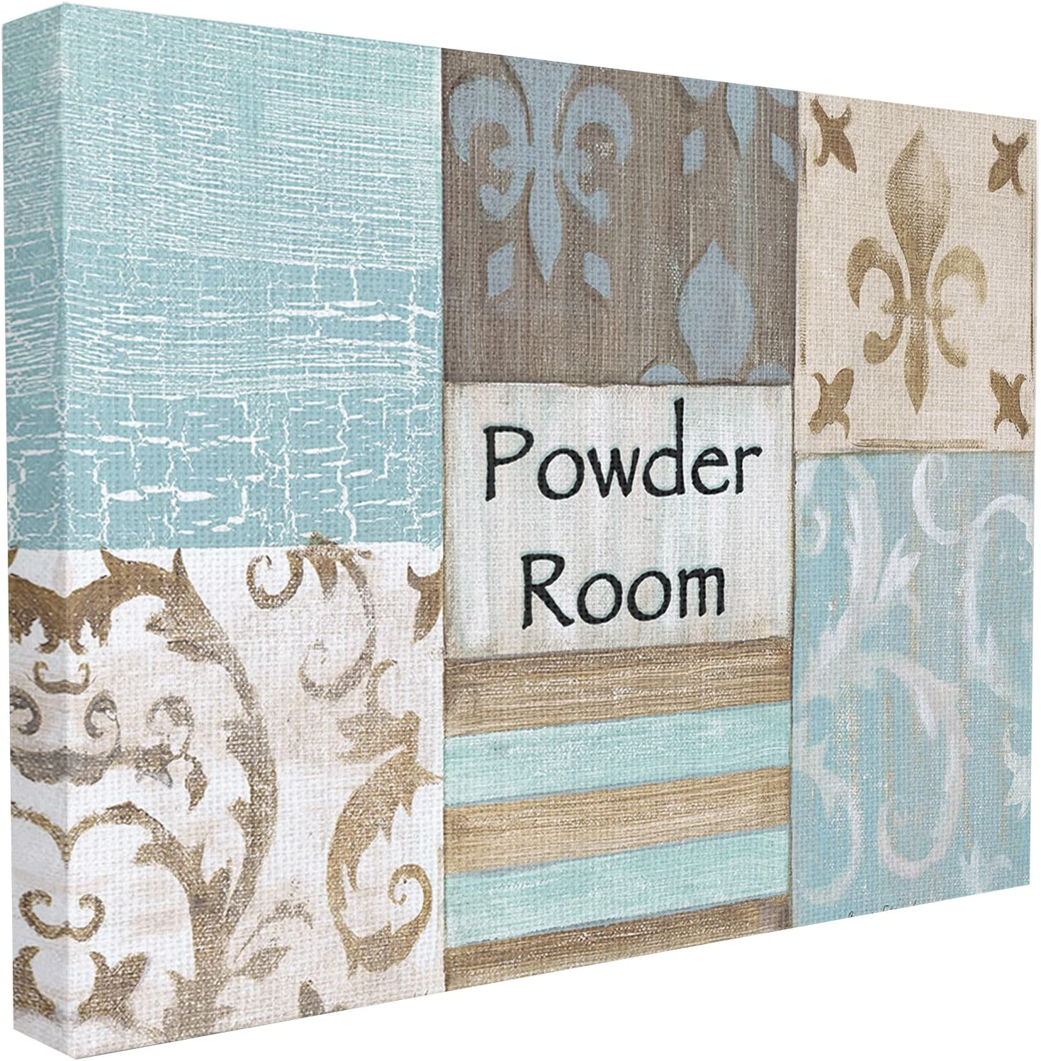 Stupell Industries The Stupell Home Decor Collection Fleur de Lis Powder Room Blue, Brown and Beige Bathroom Canvas Wall Art, 16 x 20, Design by Artist Bonnie Wrublesky