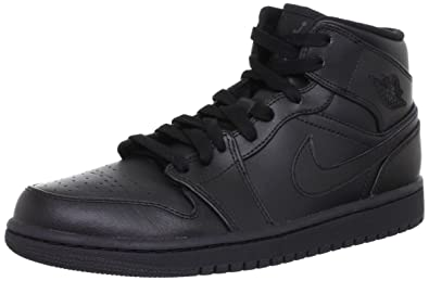 Image Unavailable. Image not available for. Color  Jordan Nike Men s 1 Mid  Black Black Black Basketball Shoe ... 8e069438a
