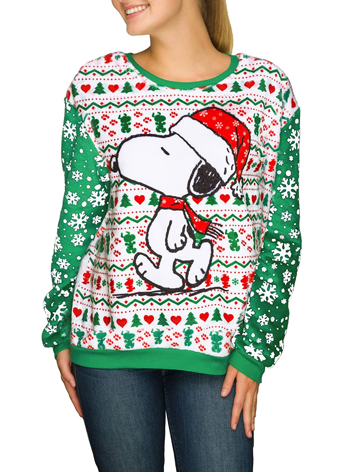 peanuts juniors snoopy minky fleece ugly christmas sweater top at amazon womens clothing store