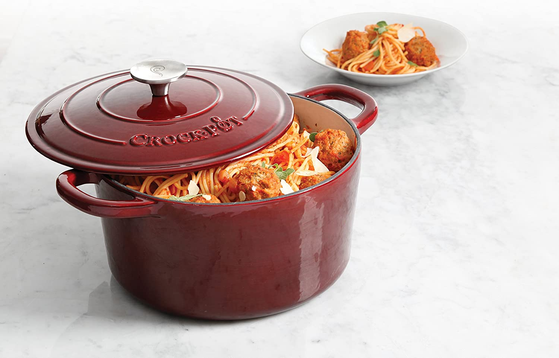 Aqua Crock Pot Artisan Round Enameled Cast Iron Dutch Oven 7-Quart