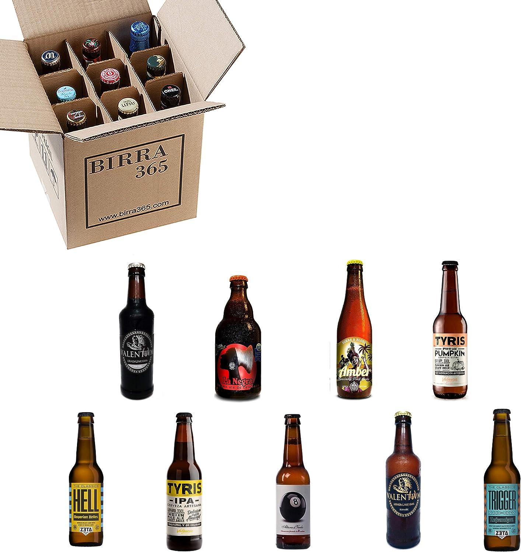 Caja de 9 cervezas artesanas seleccionadas para disfrutar de la mejor degustación de cervezas artesanas valencianas