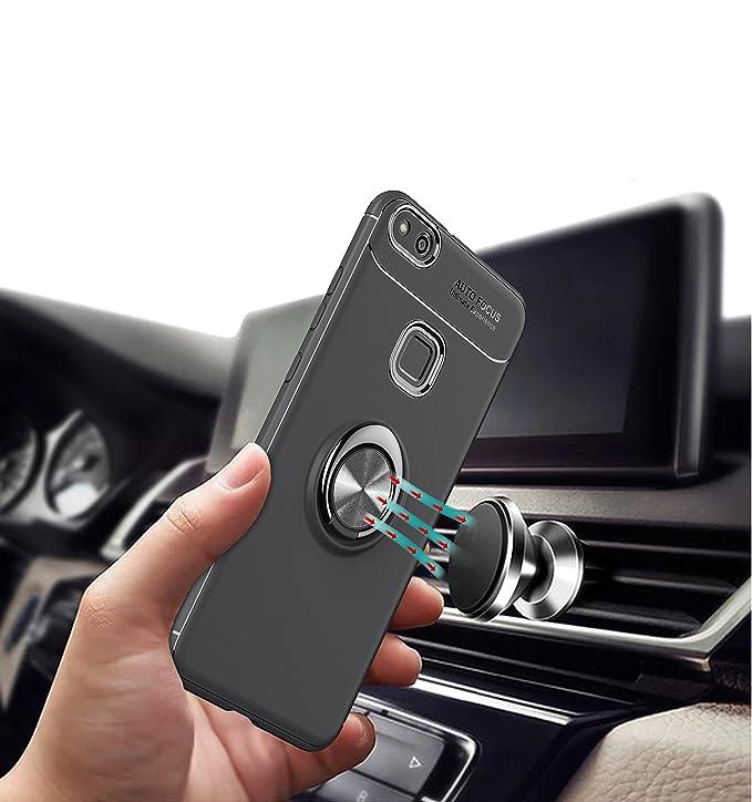 Funda Huawei P10 Case Huawei P10,SaKuLa Huawei P10 Carcasa con Slim Magnetic Car Mount Soporte giratorio 360 Degree Ring Kickstand, Thin Fit Ultra Fina Slim Silicona TPU Airbag Anti-choque Ultra-delgado Anti-ara/ñazos delgada Caso Caja Bumper Prot