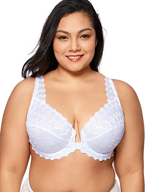 Front fastening soft white non padded non wired half laced cups 38 E