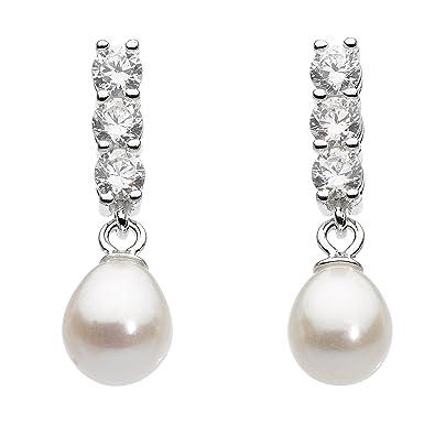 f8465631d Dew Sterling Silver Cubic Zirconia and Freshwater Pearl Triple Stud Earrings:  Amazon.co.uk: Jewellery
