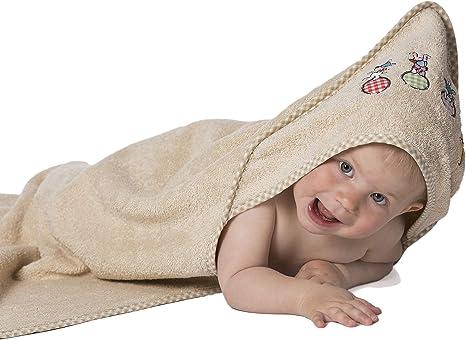 Zollner Toalla bebé con capucha, algodón, 100x100 cm, beige, Oekotex: Amazon.es: Bebé