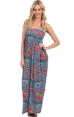 6431e43d109 INGEAR Smock Top Maxi Tube Dress at Amazon Women s Clothing store