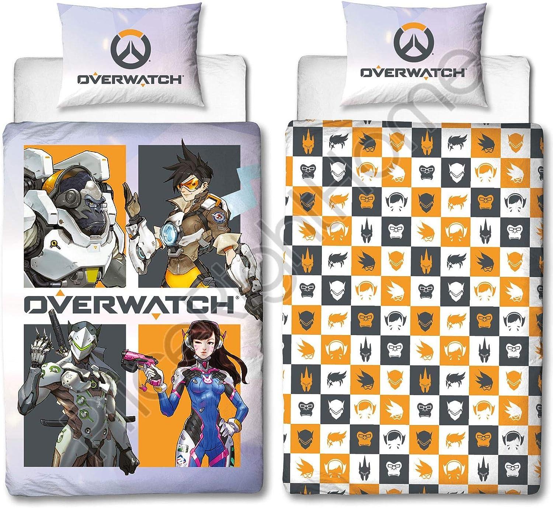 Overwatch - Funda de edredón para Cama Individual, diseño de 4 Personajes, Reversible para niños y Adolescentes: Amazon.es: Hogar