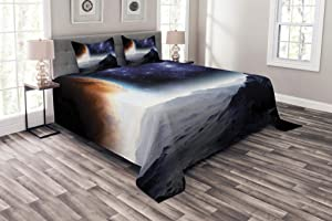 Ambesonne Outer Space Bedspread, Science Fiction of Galaxy Nature Milkyway Atmosphere Planet Abstract, Decorative Quilted 3 Piece Coverlet Set with 2 Pillow Shams, Queen Size, Purple Black