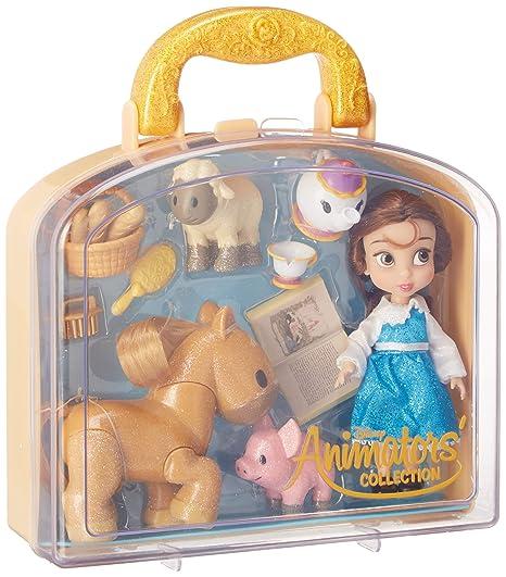 c3e87728afd Amazon.com  Disney Animators  Collection Belle Mini Doll Play Set - 5 Inch   Toys   Games