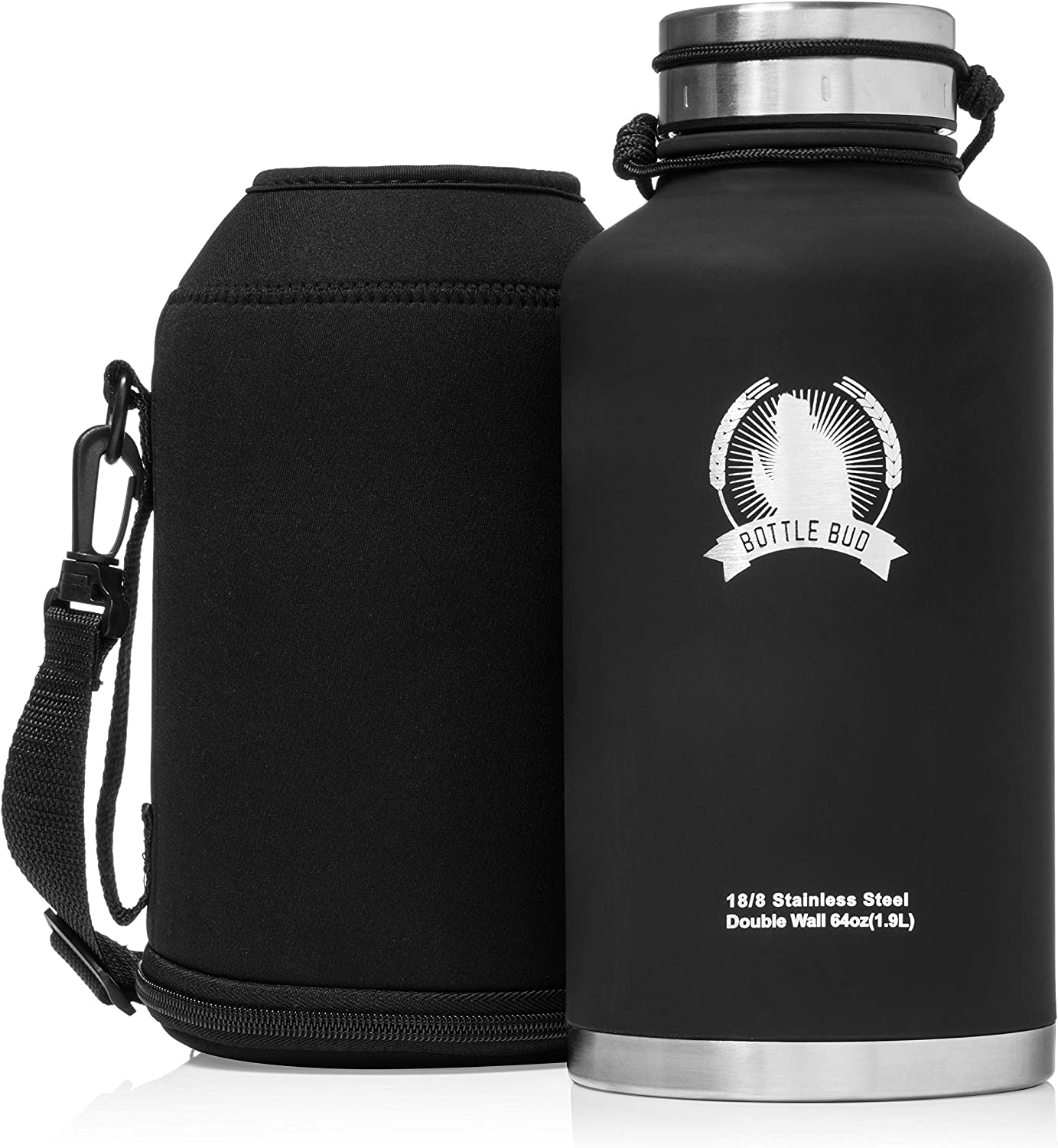 Bottle Bud Insulated Beer Growler – Keeps Beer Carbonated and Cold for More Than 24 Hours – Keeps Drinks Hot for 12 Hours – Leak Proof Lid, Neoprene Carry Case – Stainless Steel Growler for Beer 64 oz