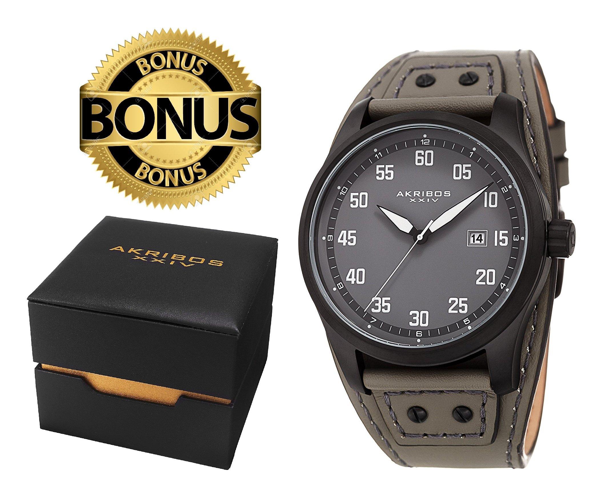 Akribos XXIV Men's AK1024GN Black & Grey Leather Cuff Strap Watch