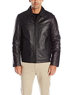 Tommy Hilfiger Mens Smooth Lamb Leather Stand Collar Jacket ...