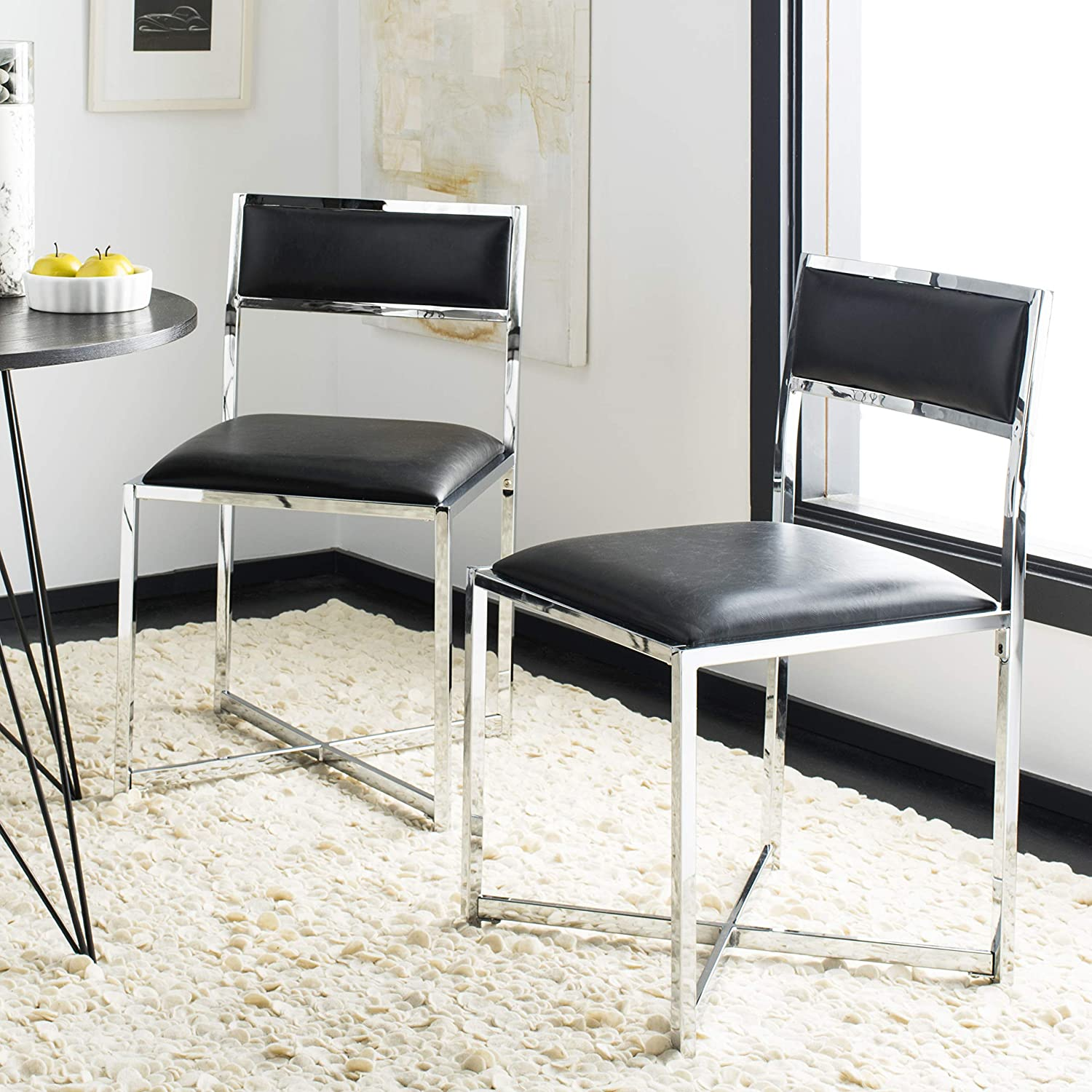 Safavieh Home Menken Black Faux Leather and Chrome Side Chair, Set of 2
